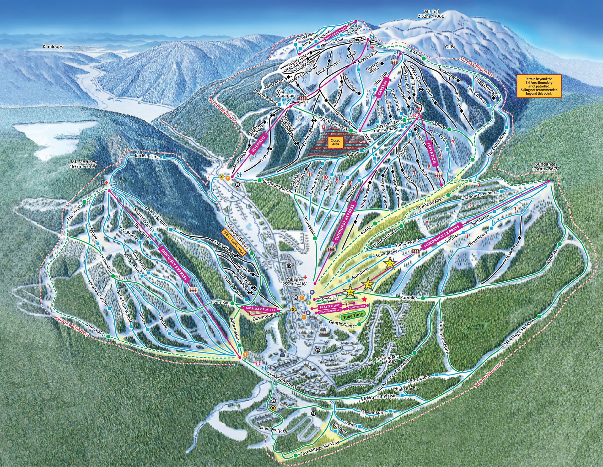 Sun Peaks Map-Dancing Frog Lodge
